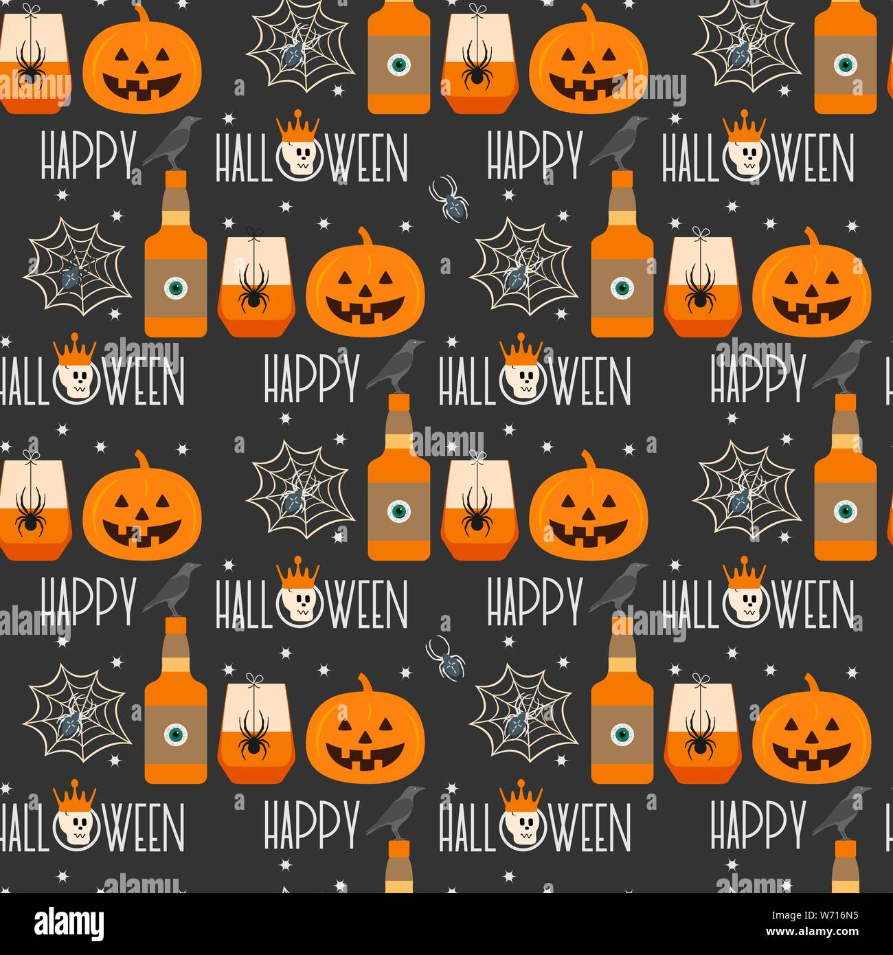 The Halloween Party 2020 Halloween party 2020. Vector seamless pattern with inscription