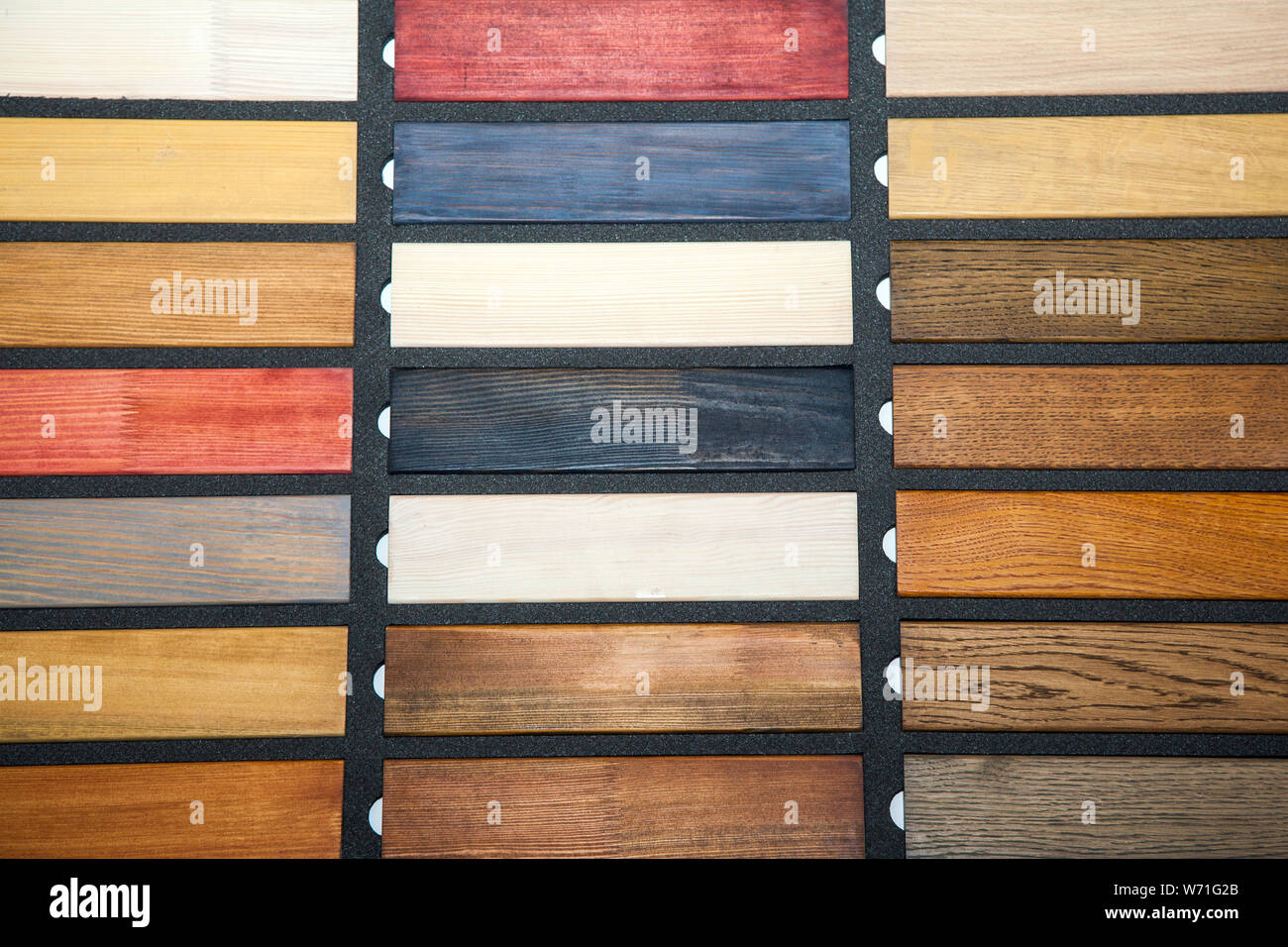collection of new colorful wooden boards, repair concept Stock Photo