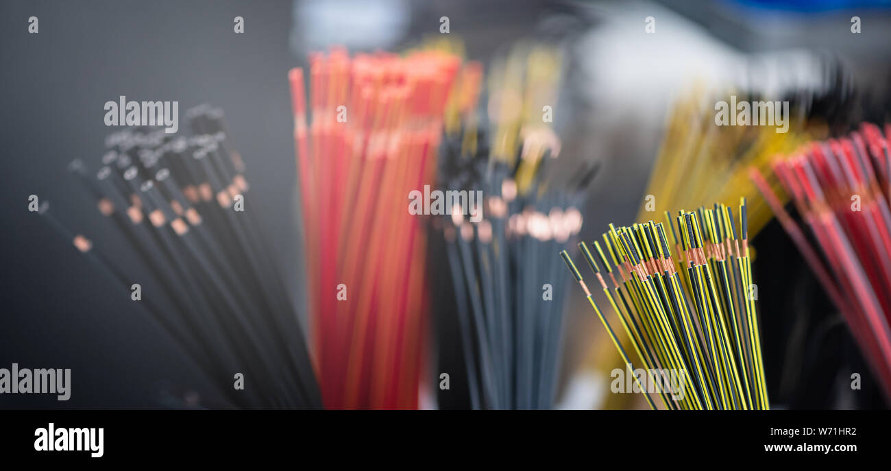 Bundle of copper cables with protect layer. Cables cut to established length and removed insulation. Ready to making electrical contacts and connect Stock Photo