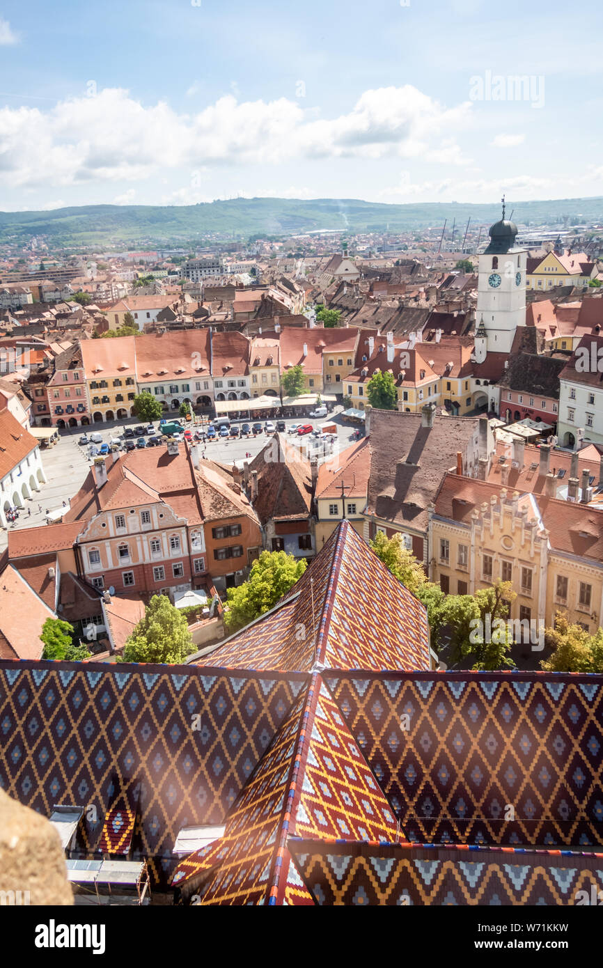 Panorama towards the east of Sibiu, Transylvania, Romania. View from the Cathedral of Saint Mary. Council Tower (Turnul Sfatului) and other landmarks Stock Photo