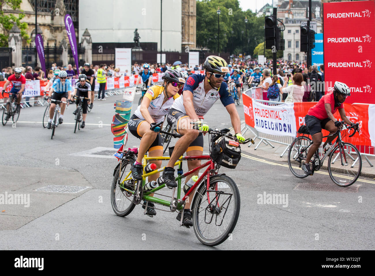 London, UK  4 August, 2019  Riders from the Prudential