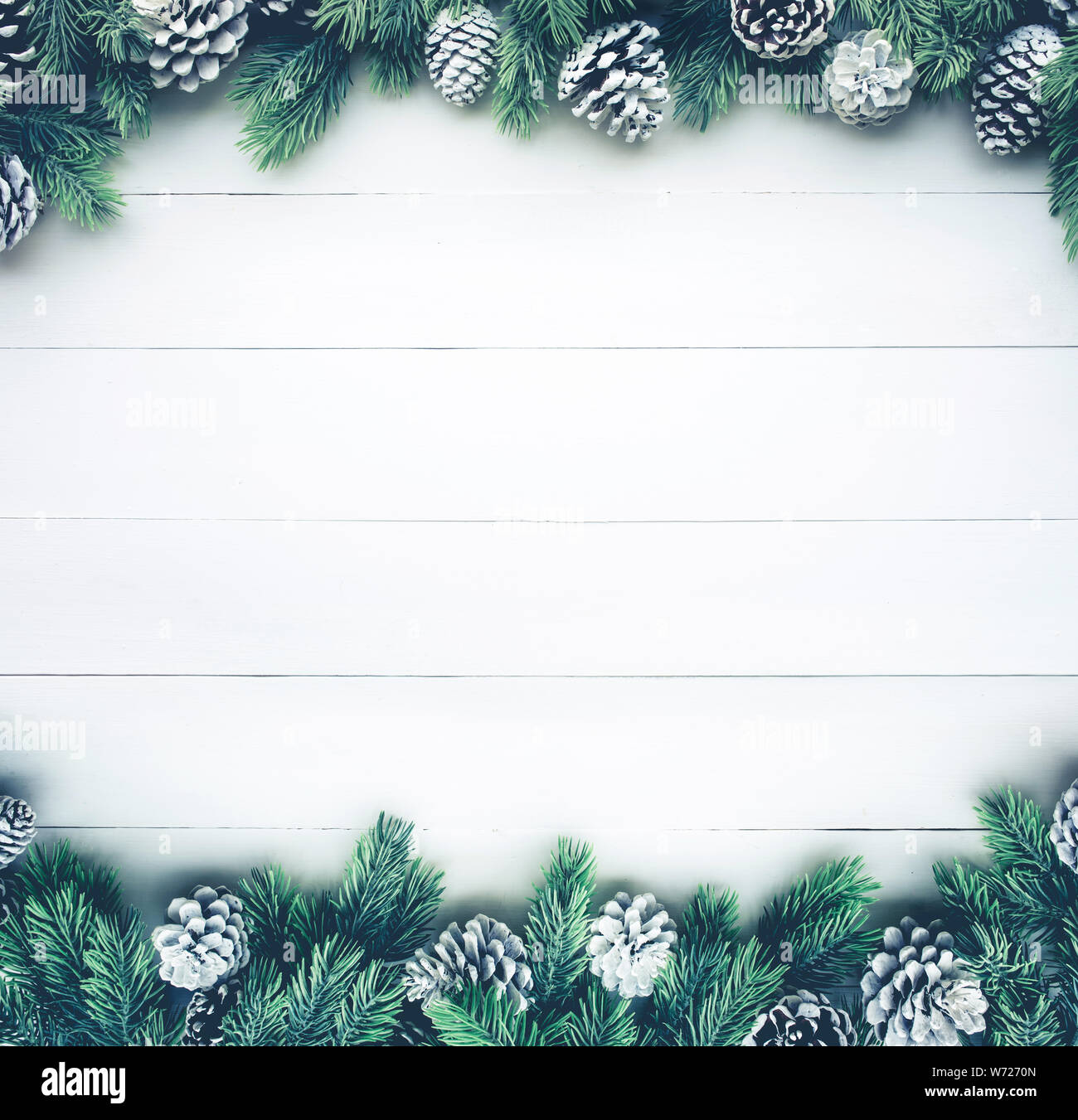 Christmas Branch Decoration Ideas.Christmas Fir Tree With Pine Branch Decoration On White Wood