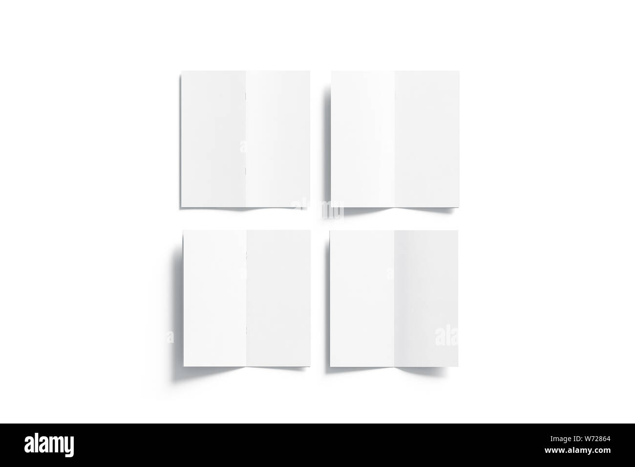 Blank white multi-page booklet mock up, opened top view, front, back, inside side, 3d rendering. Plain twofold brochures mockups set isolated. Folded Stock Photo