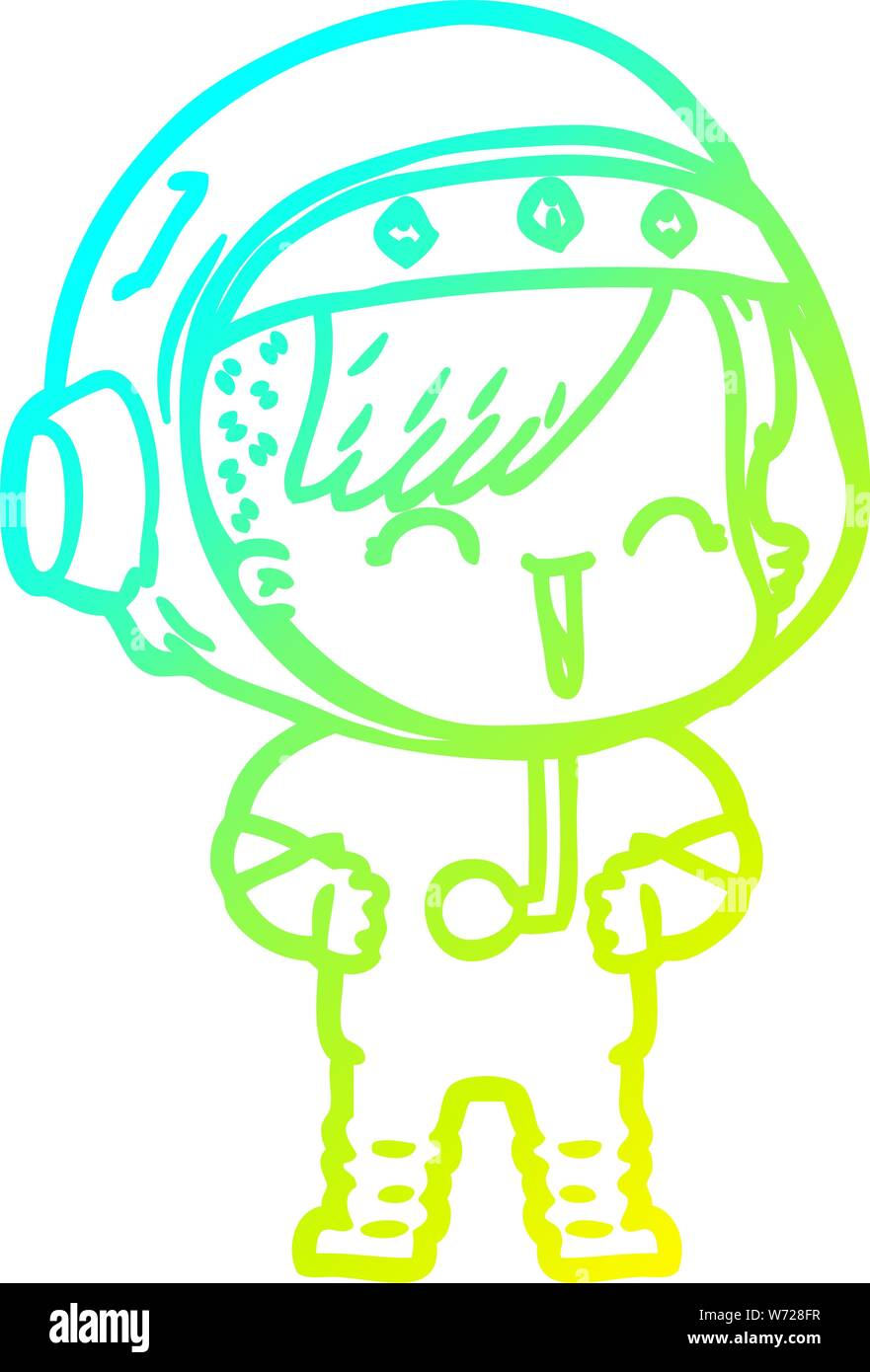 Cold Gradient Line Drawing Of A Happy Cartoon Space Girl Stock