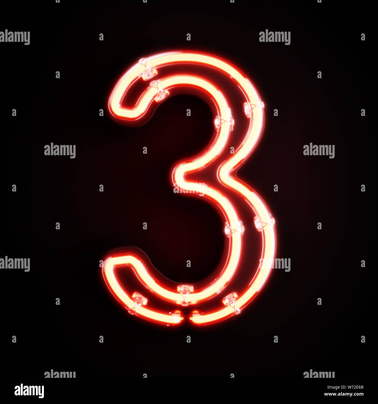 Neon light digit alphabet character 3 three font  Neon tube