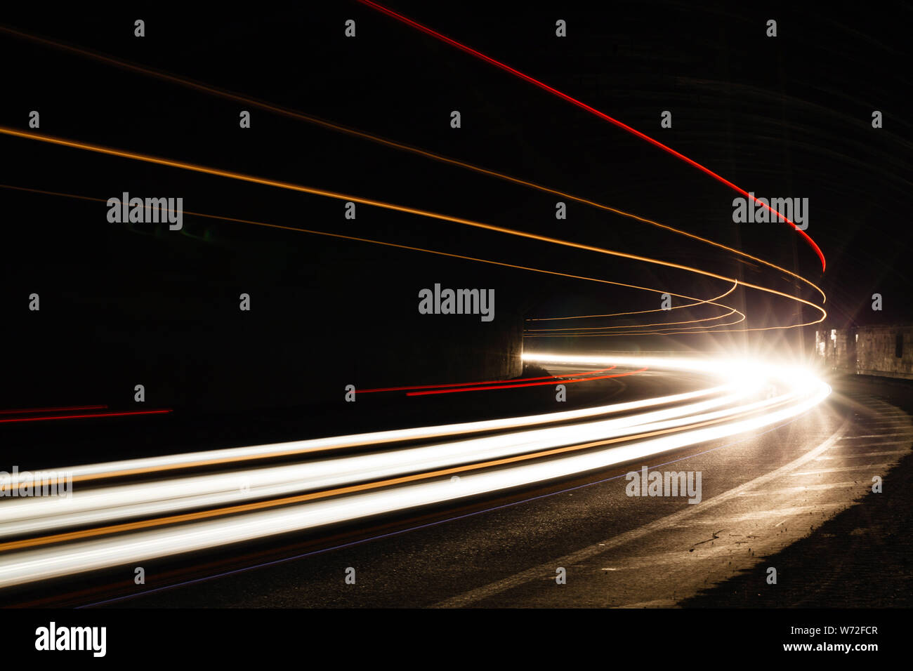 Car Light Trails In The Tunnel Long Exposure Photo Taken In A Tunnel Below Veliko Tarnovo Stock Photo Alamy