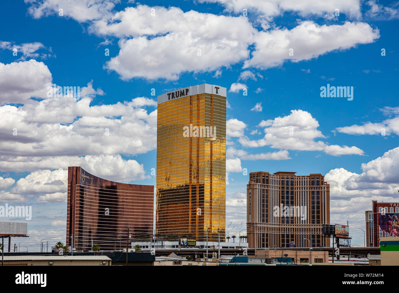 Las Vegas Nevada, USA. May 28, 2019. Trump tower gold facade shining in the morning. Sunny spring day, blue sky with clouds Stock Photo