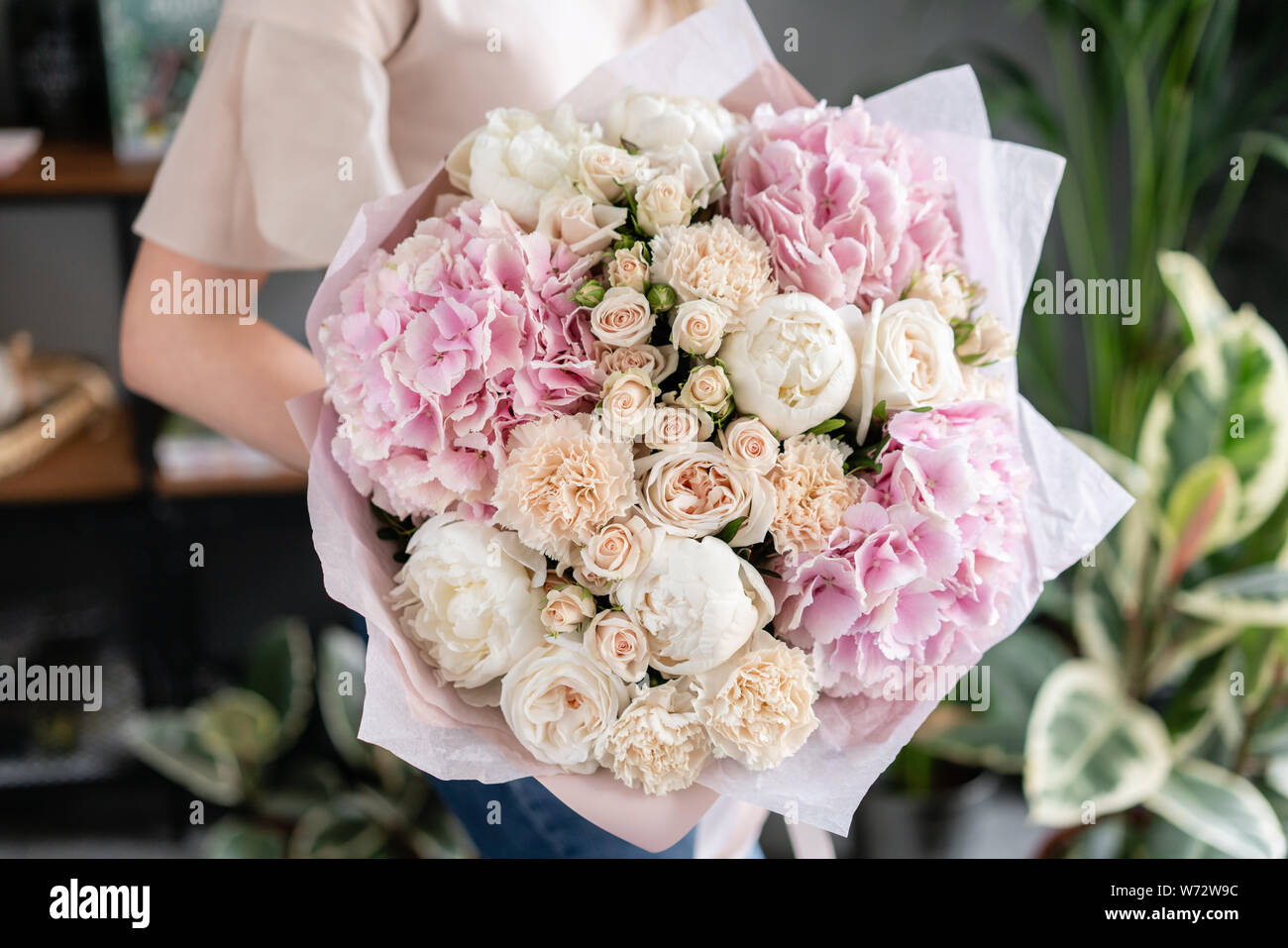 White Peonies And Pink Hydrangea Beautiful Bouquet Of Mixed Flowers In Woman Hand Floral Shop Concept Handsome Fresh Bouquet Flowers Delivery Stock Photo Alamy