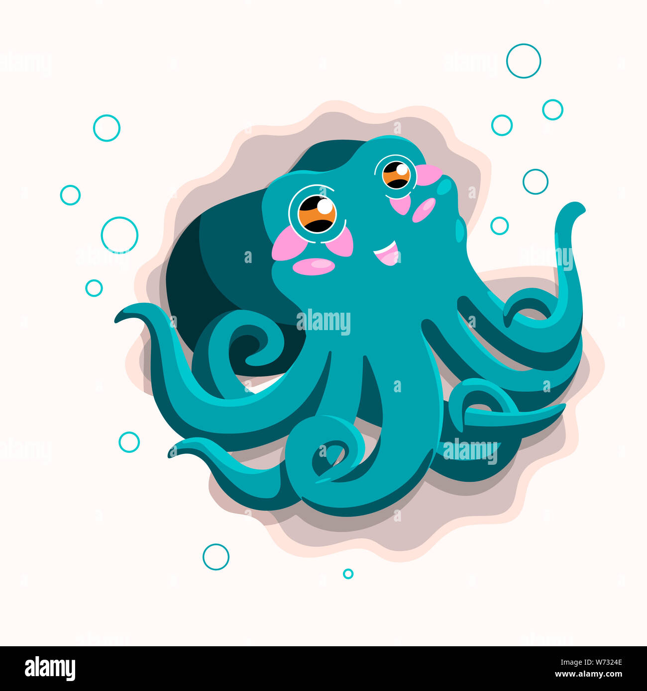 Cute blue octopus cartoon with bubbles and seashells. Happy illustration for kids Stock Photo
