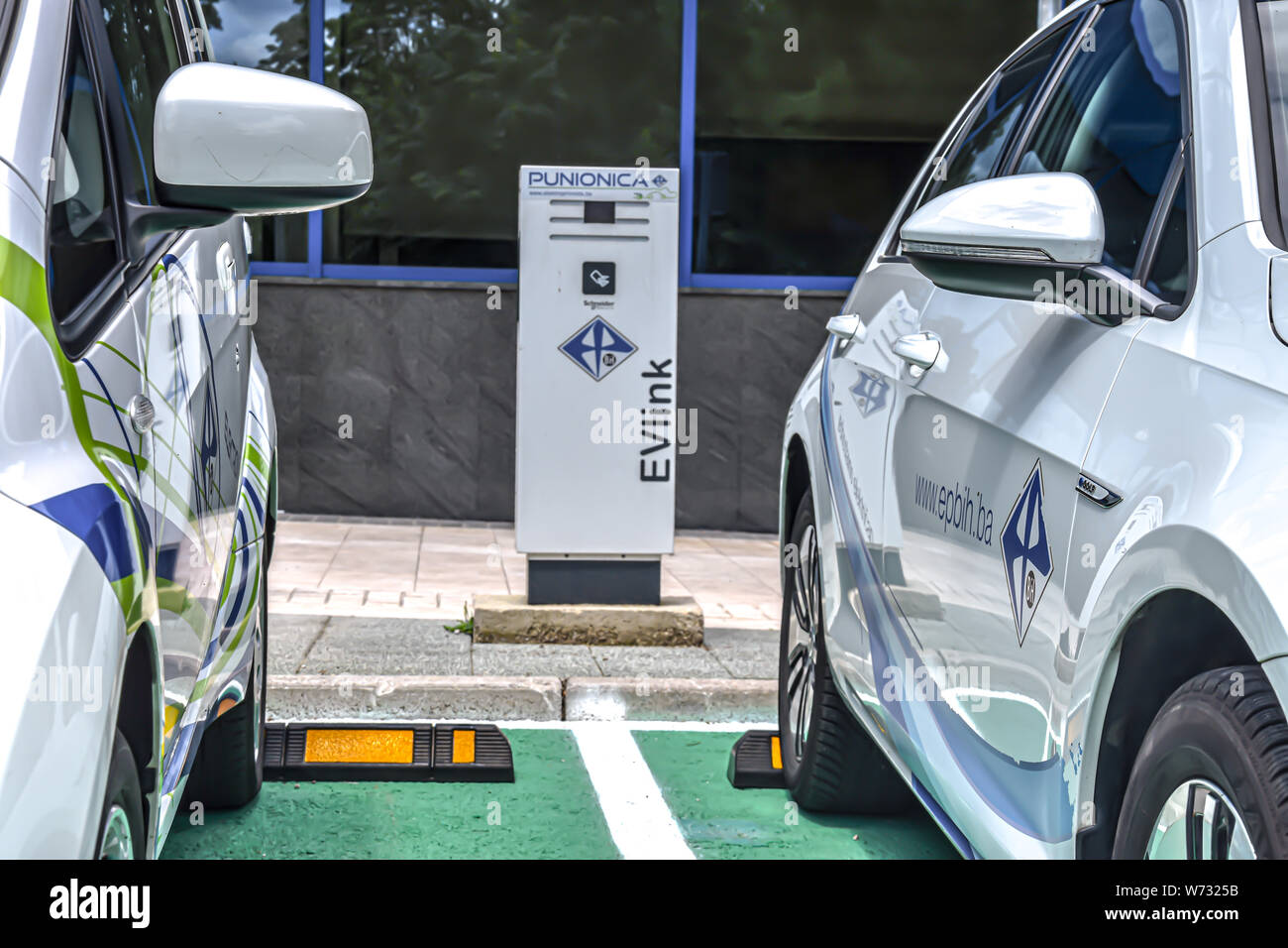 The first electric vehicle charging station in Sarajevo by JP Elektroprivreda BiH d.d Stock Photo
