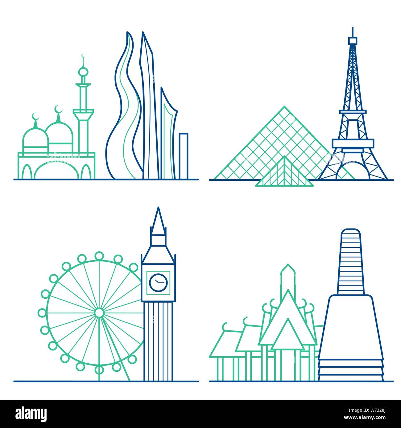 Travel icons set. Themed icons of London, Paris, Bangkok and Dubai linear symbols collection. Showplace isolated vector illustration Stock Vector