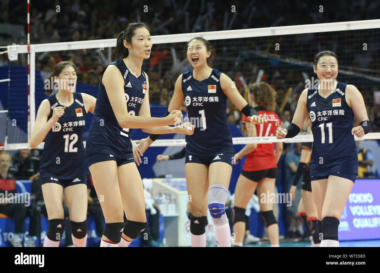China Women S National Volleyball Team Celebrate After Scoring During The 2019 Fivb Women S Volleyball Intercontinental Olympic