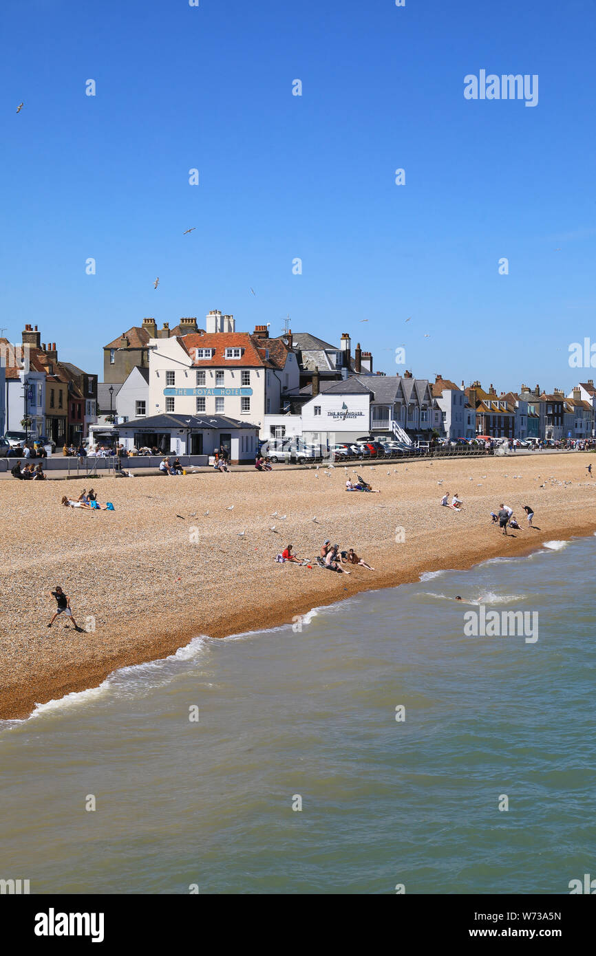 The beach and seafront in pretty Deal, on Kent's east coast, in England, UK Stock Photo