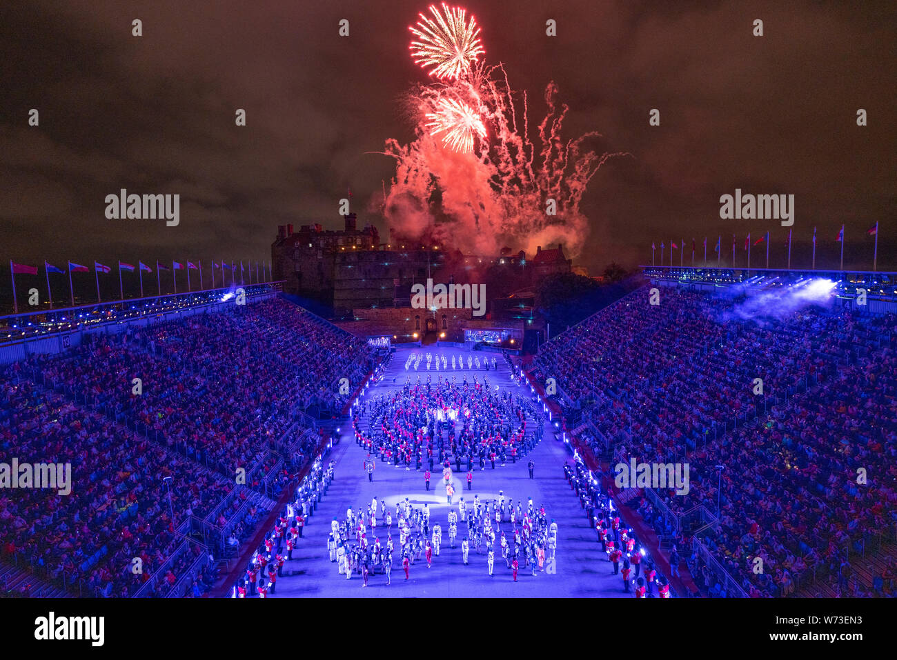Preview opening night of the 2019 Royal Edinburgh Military Tattoo, performed on the esplanade at Edinburgh Castle, Scotland, UK Stock Photo