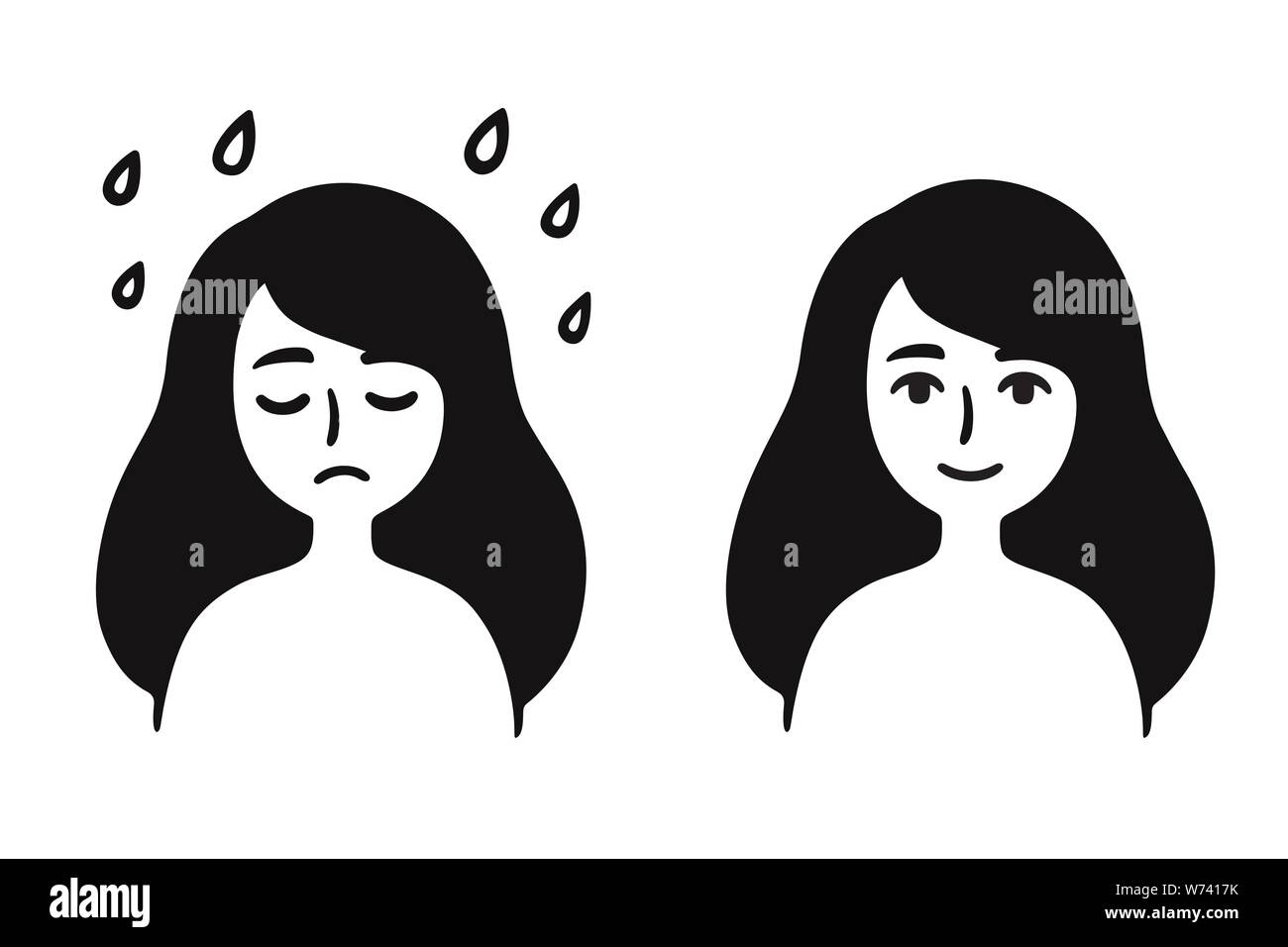 Young Girl With Sad Depressed Face And Normal Content Expression Black And White Simple Cartoon Drawing Overcoming Depression And Stress Mental H Stock Vector Image Art Alamy