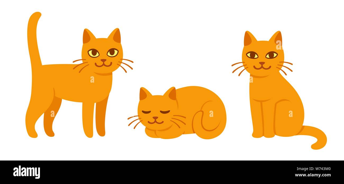 Cute cat drawing set in different poses. Sitting, standing