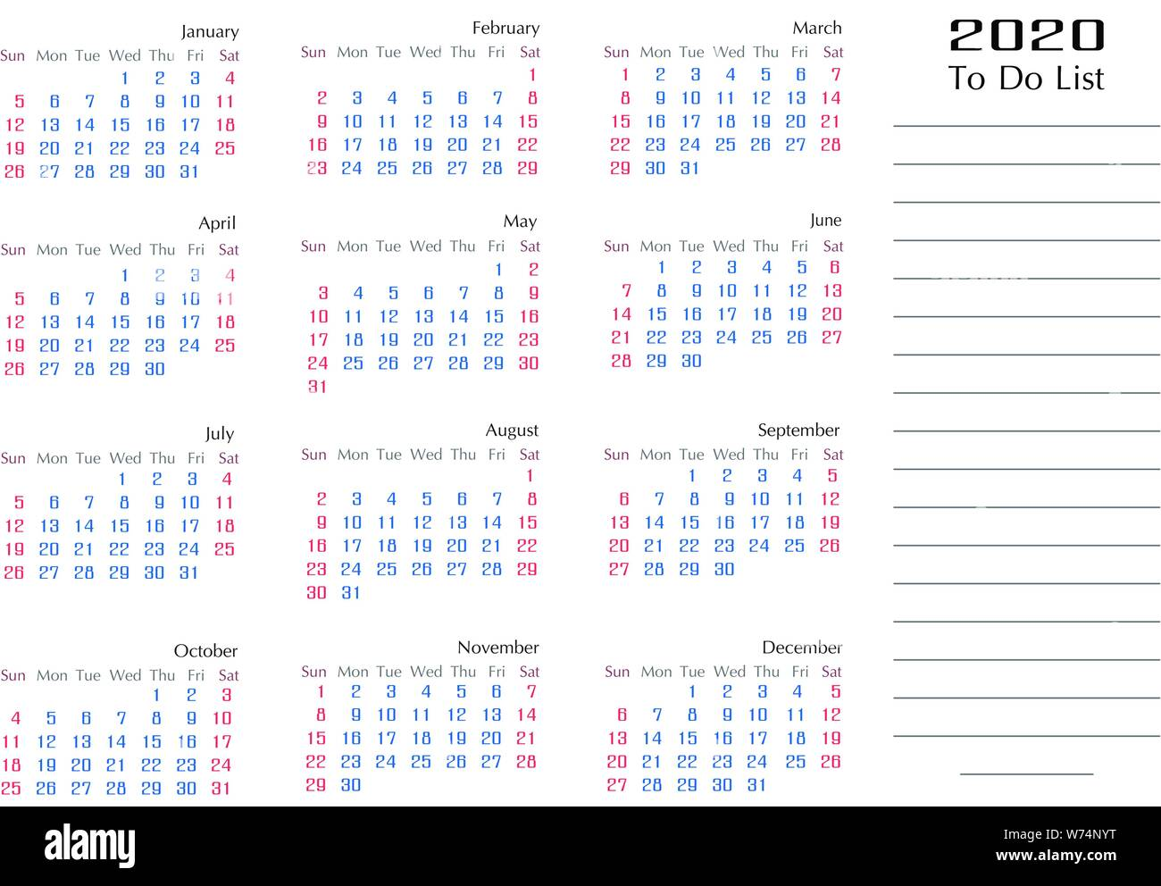 The List 2020.Simple 2020 Calendar Template Year To Do List Planner Stock