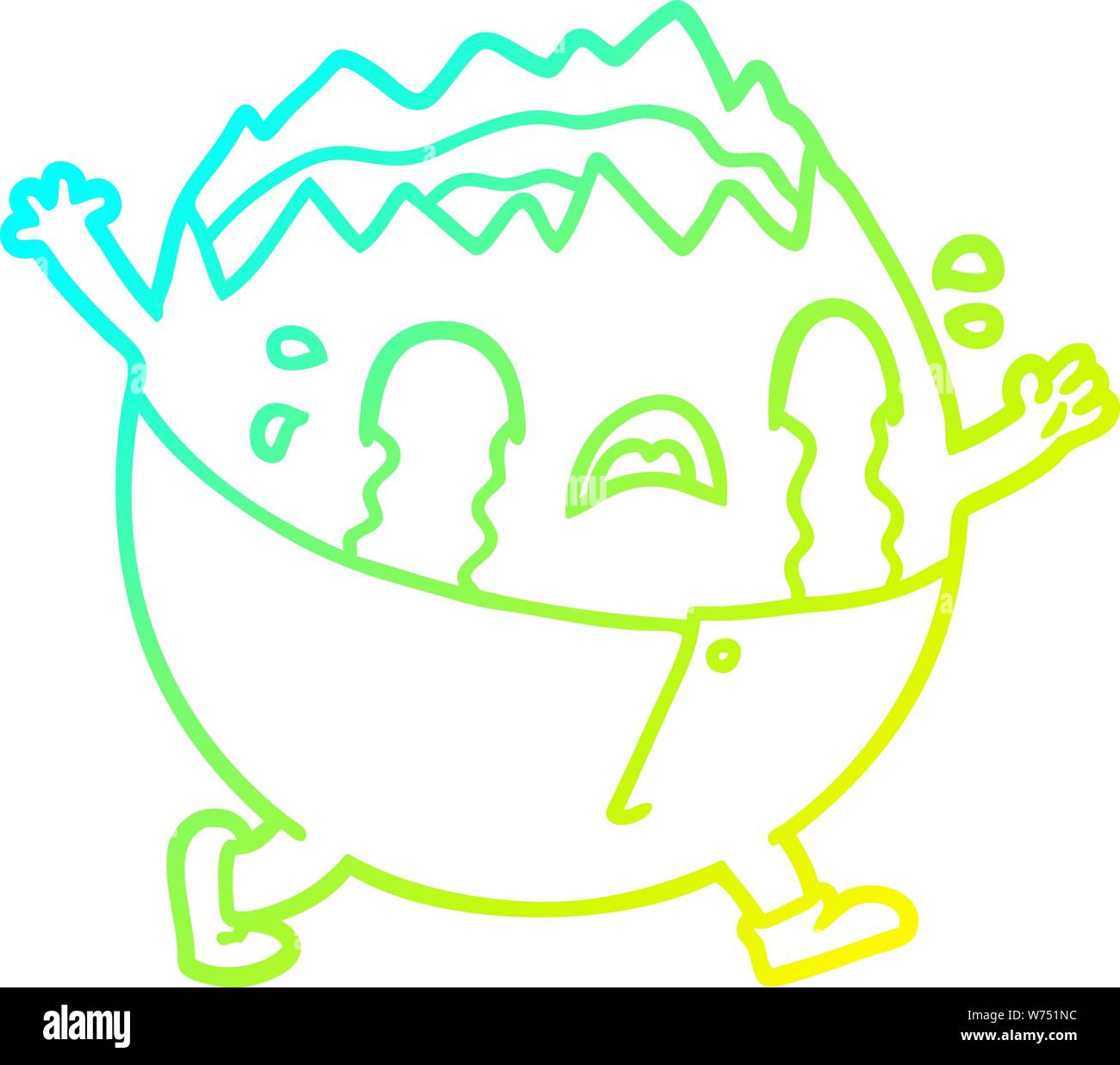 cold gradient line drawing of a humpty dumpty cartoon egg man crying Stock Vector