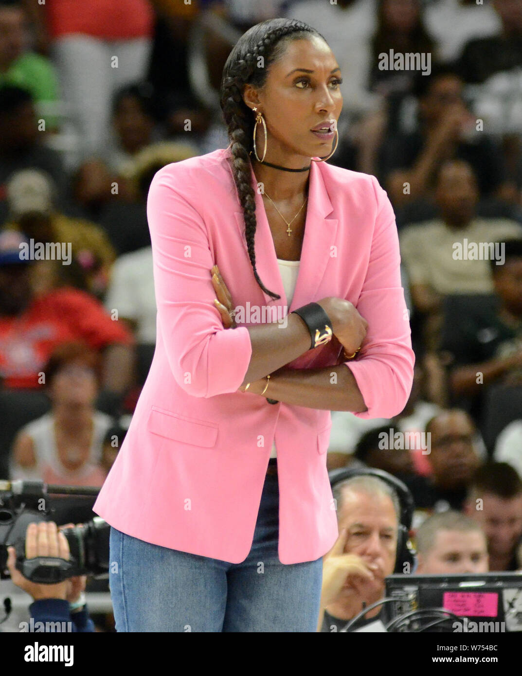 August 4, 2019: Triplets Head Coach Lisa Leslie looks on during the