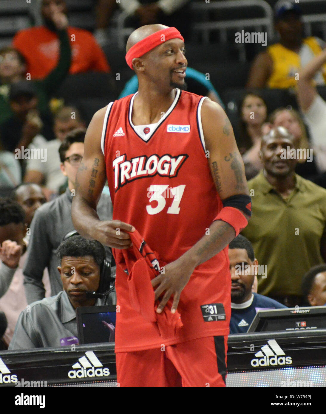 August 4, 2019: Trilogy guard Jason Terry reacts during the BIG3