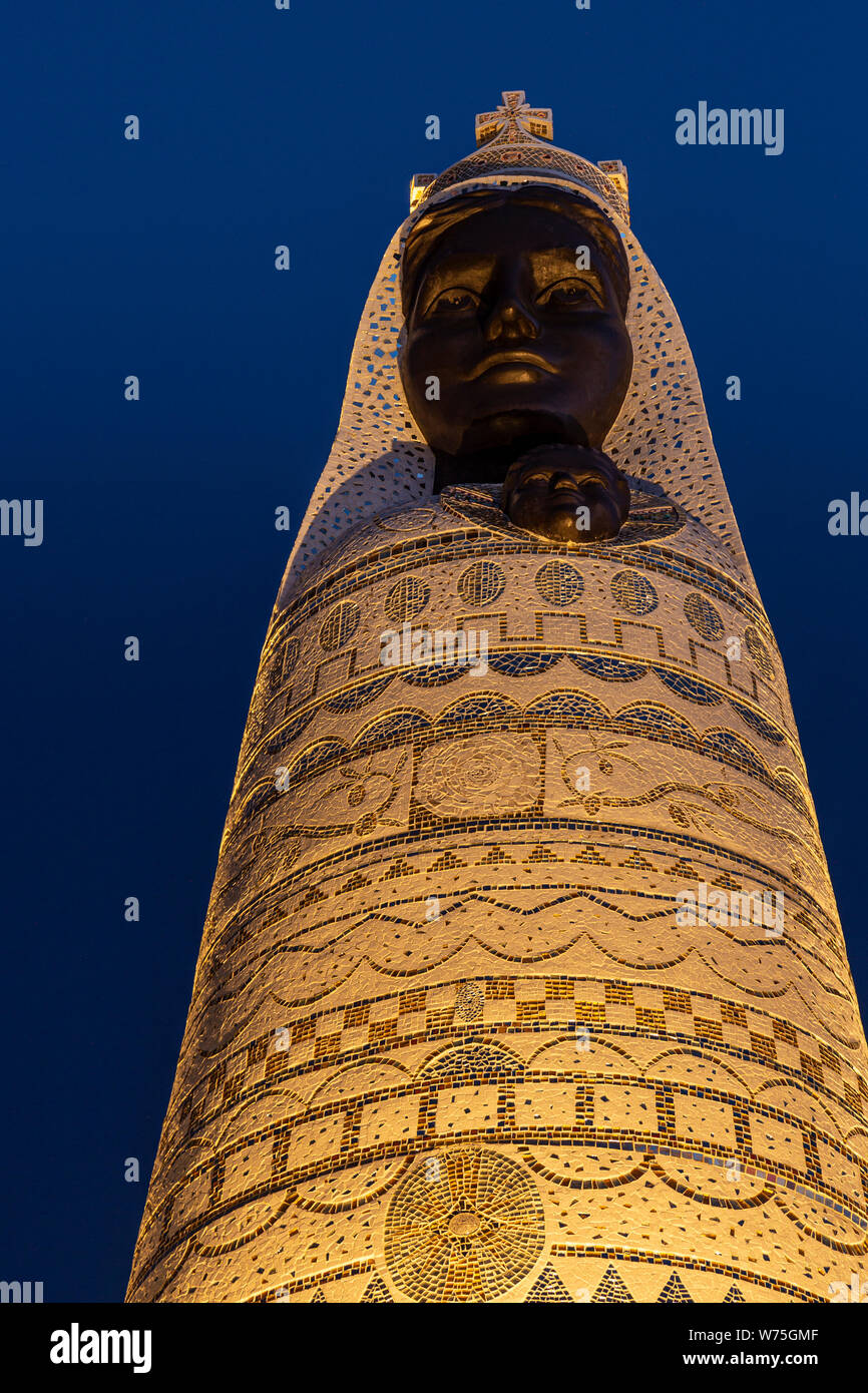 Our Lady of Loretto statue at Primosten, Croatia at night Stock Photo