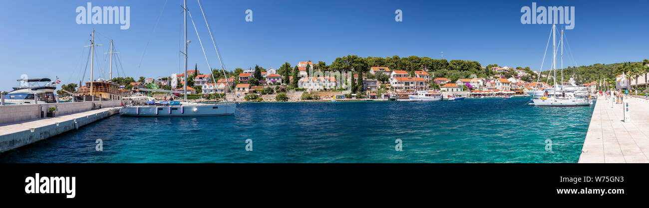 Panoramic view of Maslinica on the Adriatic coast of Croatia Stock Photo