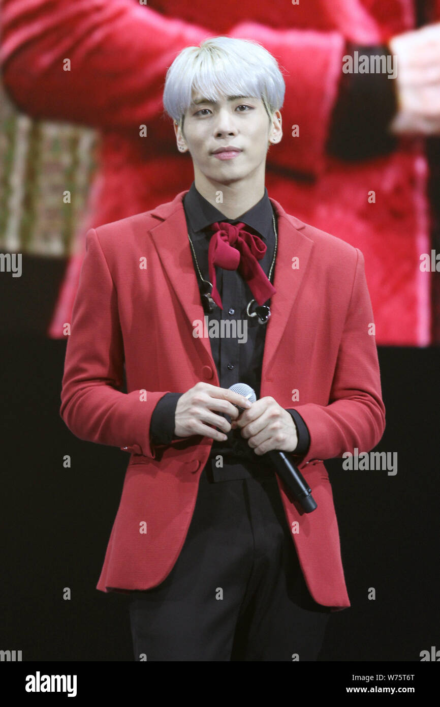 South Korean singer-songwriter Kim Jong-hyun, better known as Jonghyun, of South Korean boy group SHINee attends a promotional event for The Shilla, a Stock Photo