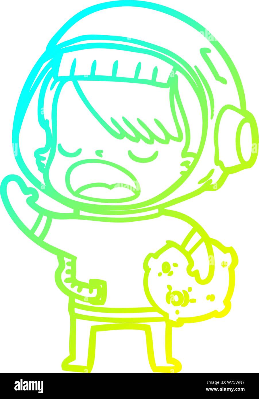 Cold Gradient Line Drawing Of A Cartoon Space Girl Holding Meteor