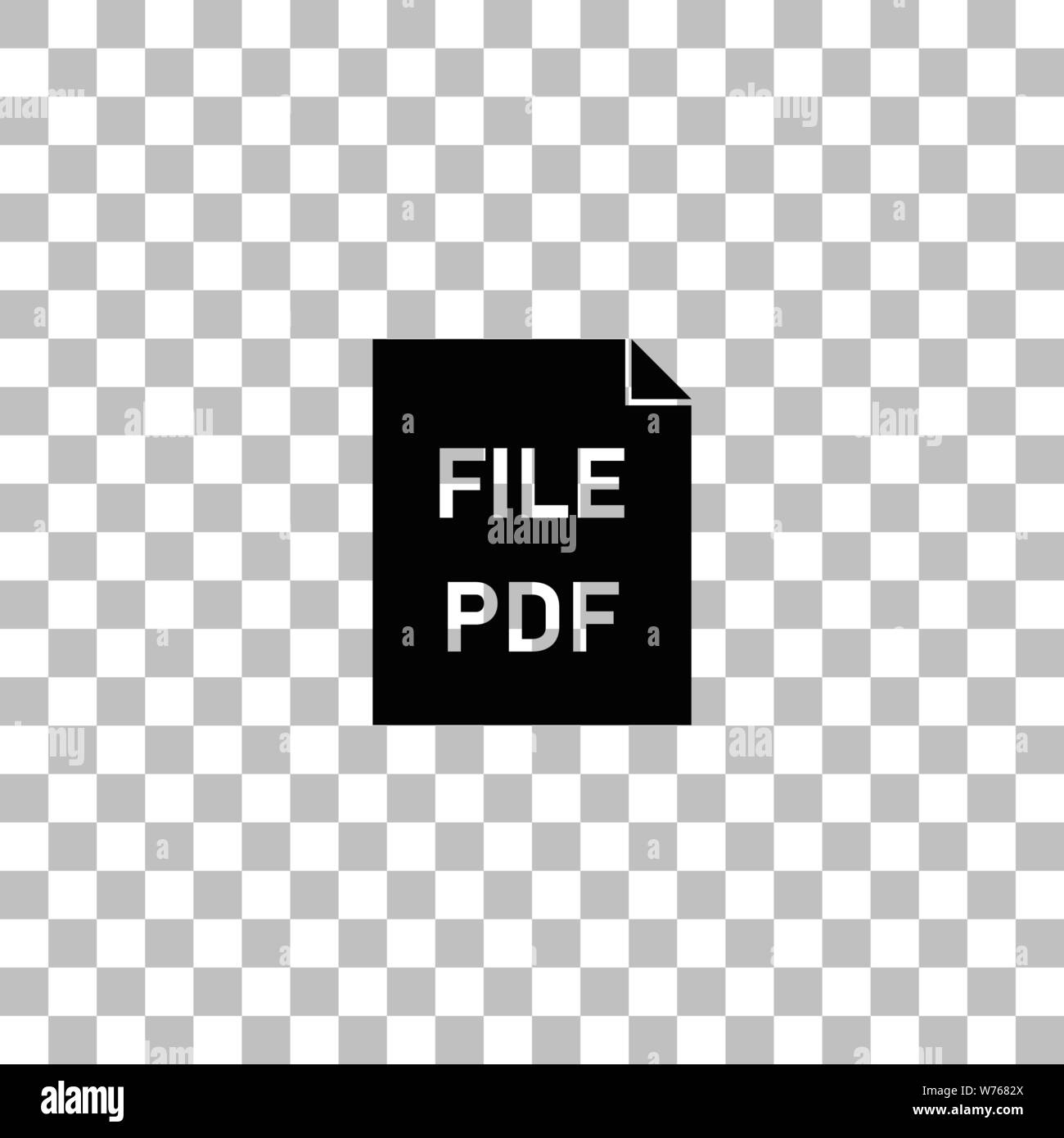 Pdf Black Flat Icon On A Transparent Background Pictogram For
