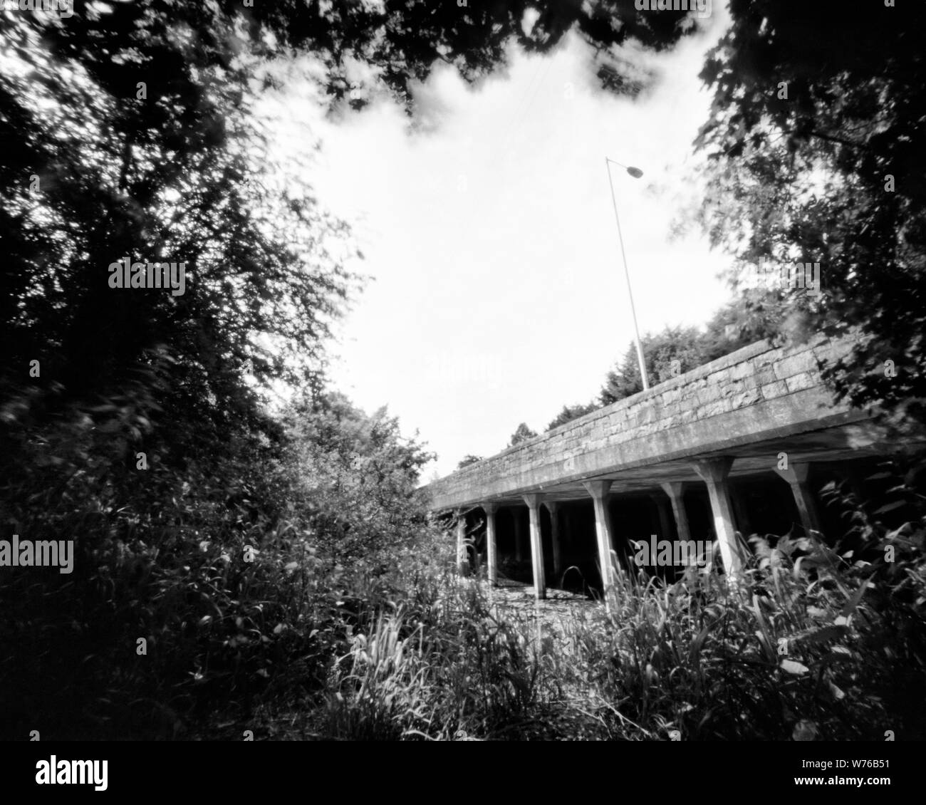 Bridge And Trees In The Spring This Black And White Camera Obscura Photo Is Not Sharp Due To Camera Characteristic Taken On Analogue Photographic La Stock Photo Alamy