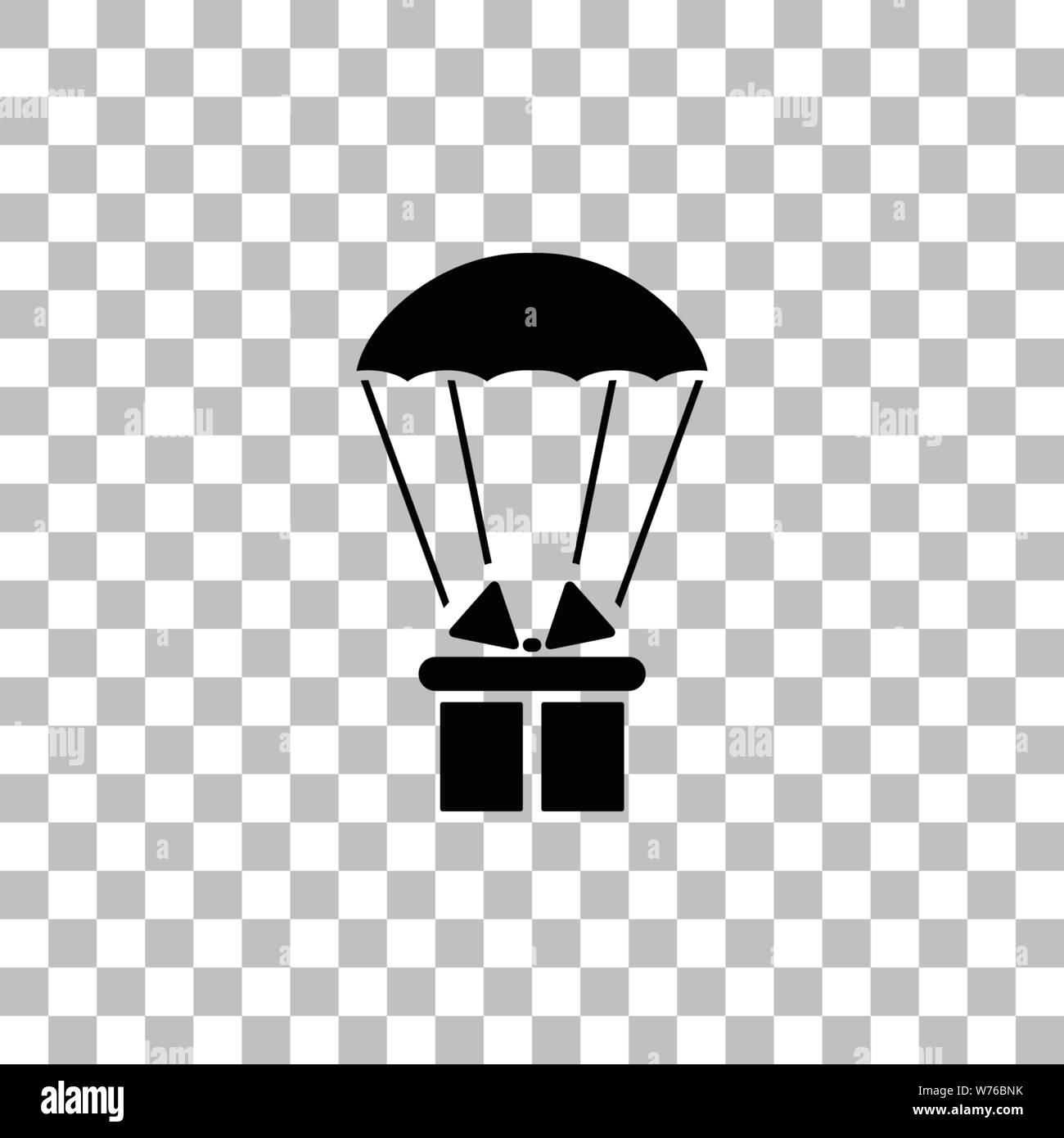 Parachute Gift Box Package Black Flat Icon On A Transparent Background Pictogram For Your Project Stock Vector Image Art Alamy