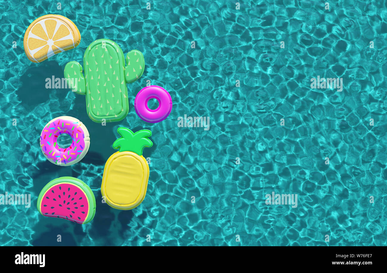 Summer swimming pool full of fun pool floats. Overhead view ...