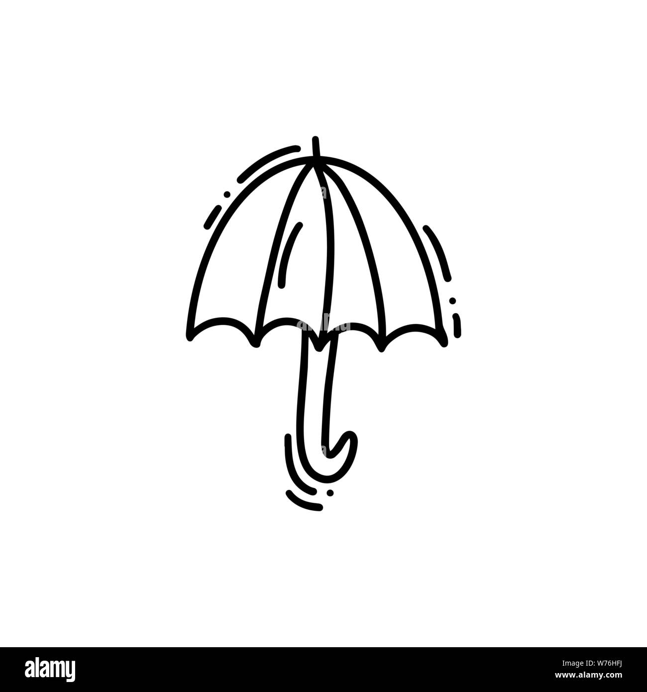 Icon of umbrella on a rainy day doodle hand drawn vector