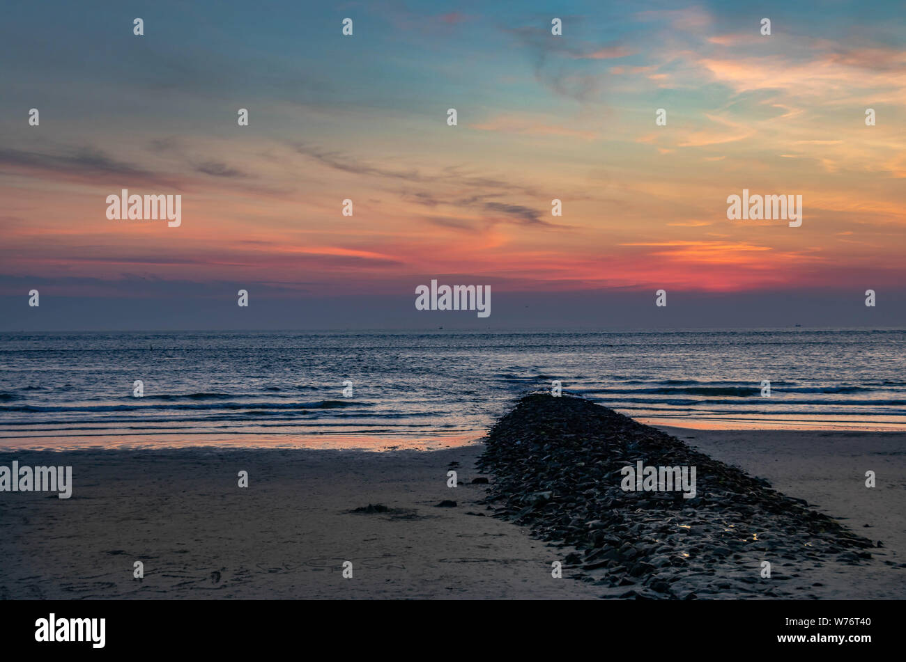 sand beach sunset view in island norderney, travel Germany Stock Photo