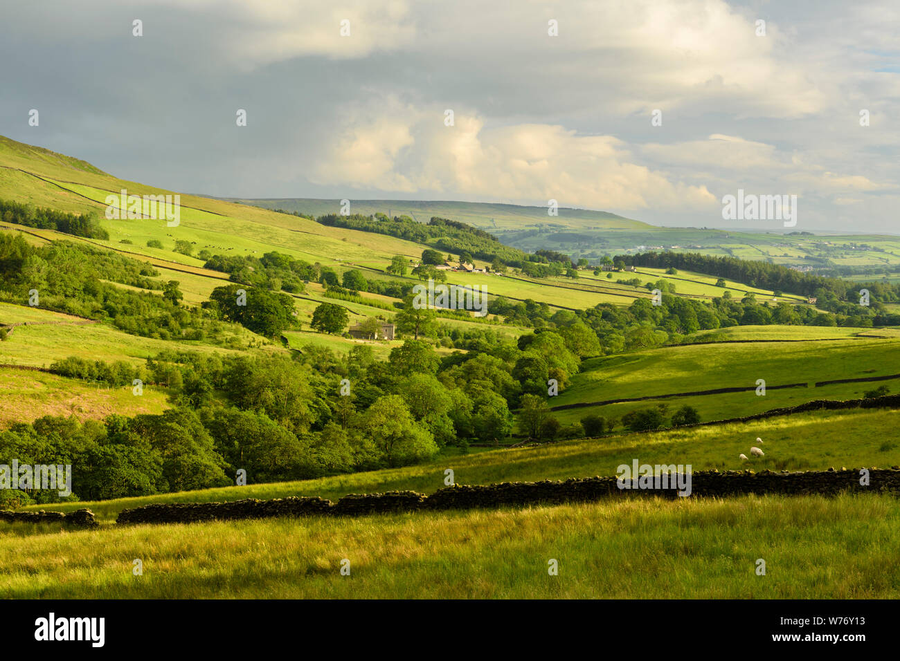 Long-distance picturesque evening view to Wharfedale (rolling clouds & hills, green pasture, sunlit valley) - Beamsley, Yorkshire Dales, England, UK. Stock Photo