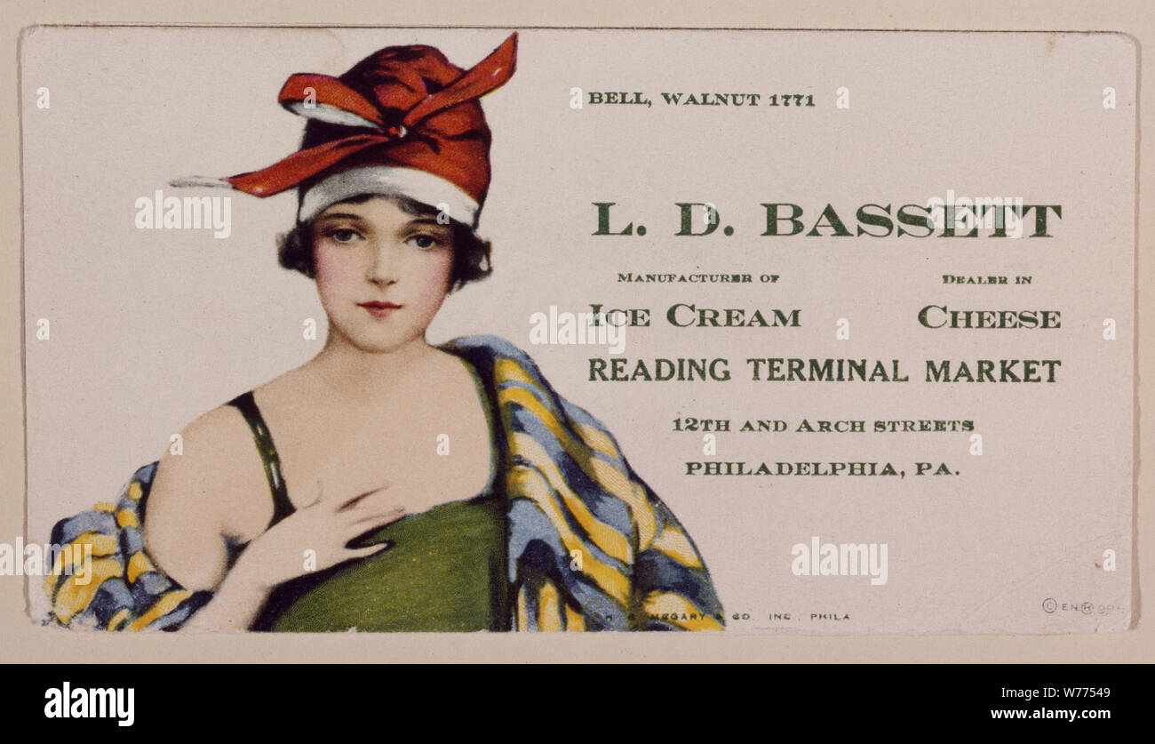 1920s-vintage advertising flier for the Bassett's Ice Cream stand in the Reading Terminal Market, Philadelphia, Pennsylvania Physical description: 1 transparency : color ; 4 x 5 in. or smaller.  Notes: Digital image produced by Carol M. Highsmith to represent her original film transparency; some details may differ between the film and the digital images.; Forms part of the Selects Series in the Carol M. Highsmith Archive.; Gift and purchase; Carol M. Highsmith; 2011; (DLC/PP-2011:124).; Bassett's was one of the original tenants of the Reading Terminal Market.; Title, date, subject note, and ke Stock Photo