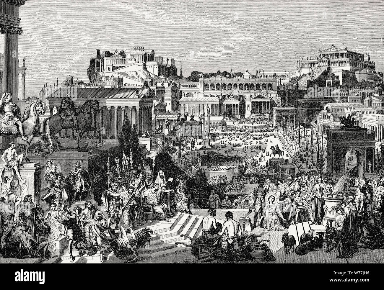 Persecution of Christians, in the Roman Empire, Reconstruction of the Roman Forum in ancient Rome Stock Photo