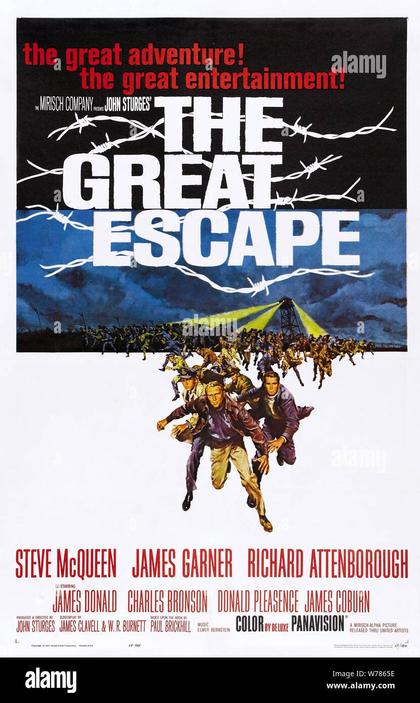 MOVIE POSTER, THE GREAT ESCAPE, 1963 Stock Photo
