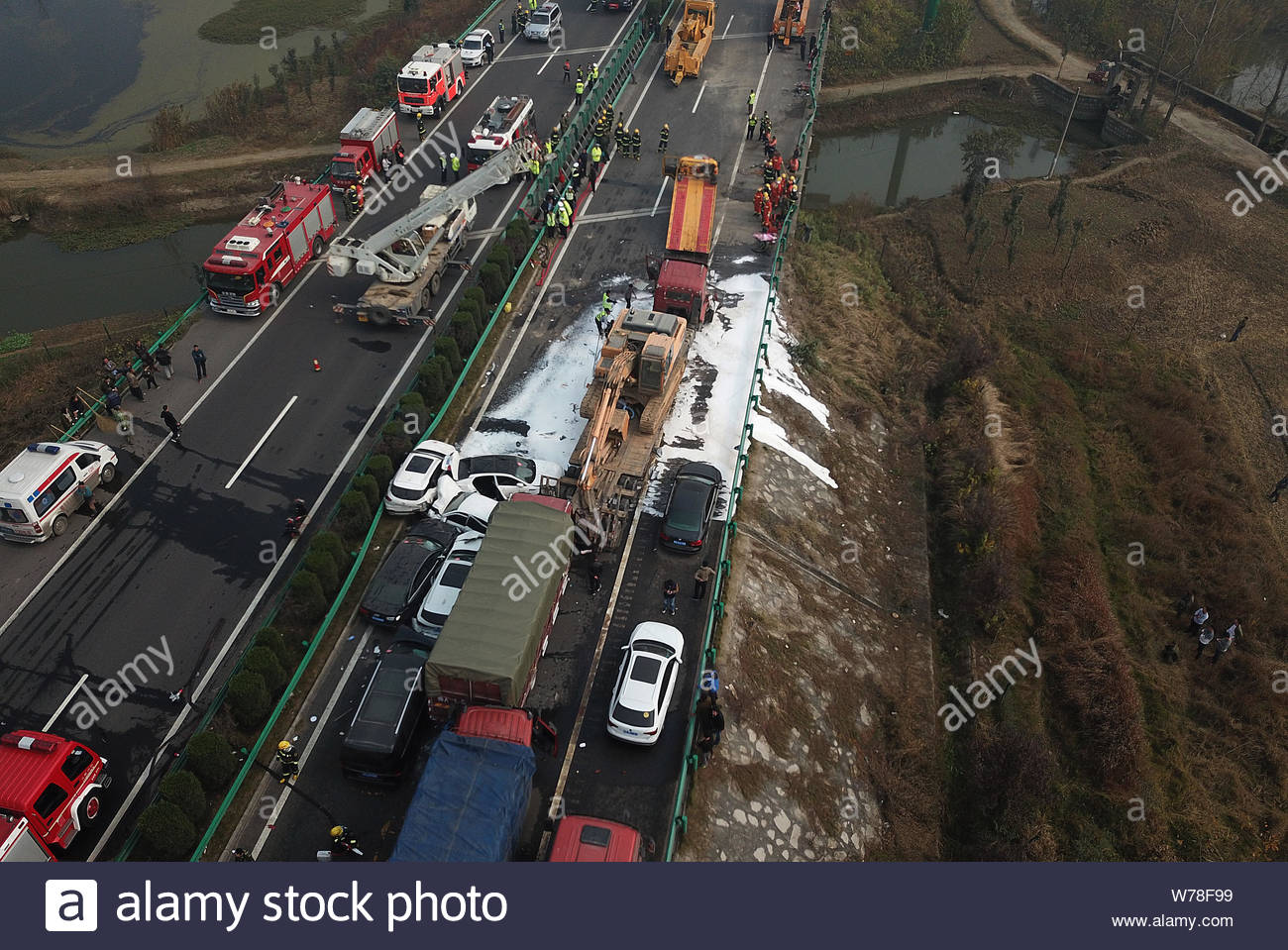 Aerial view of the accident site where a pile-up involving