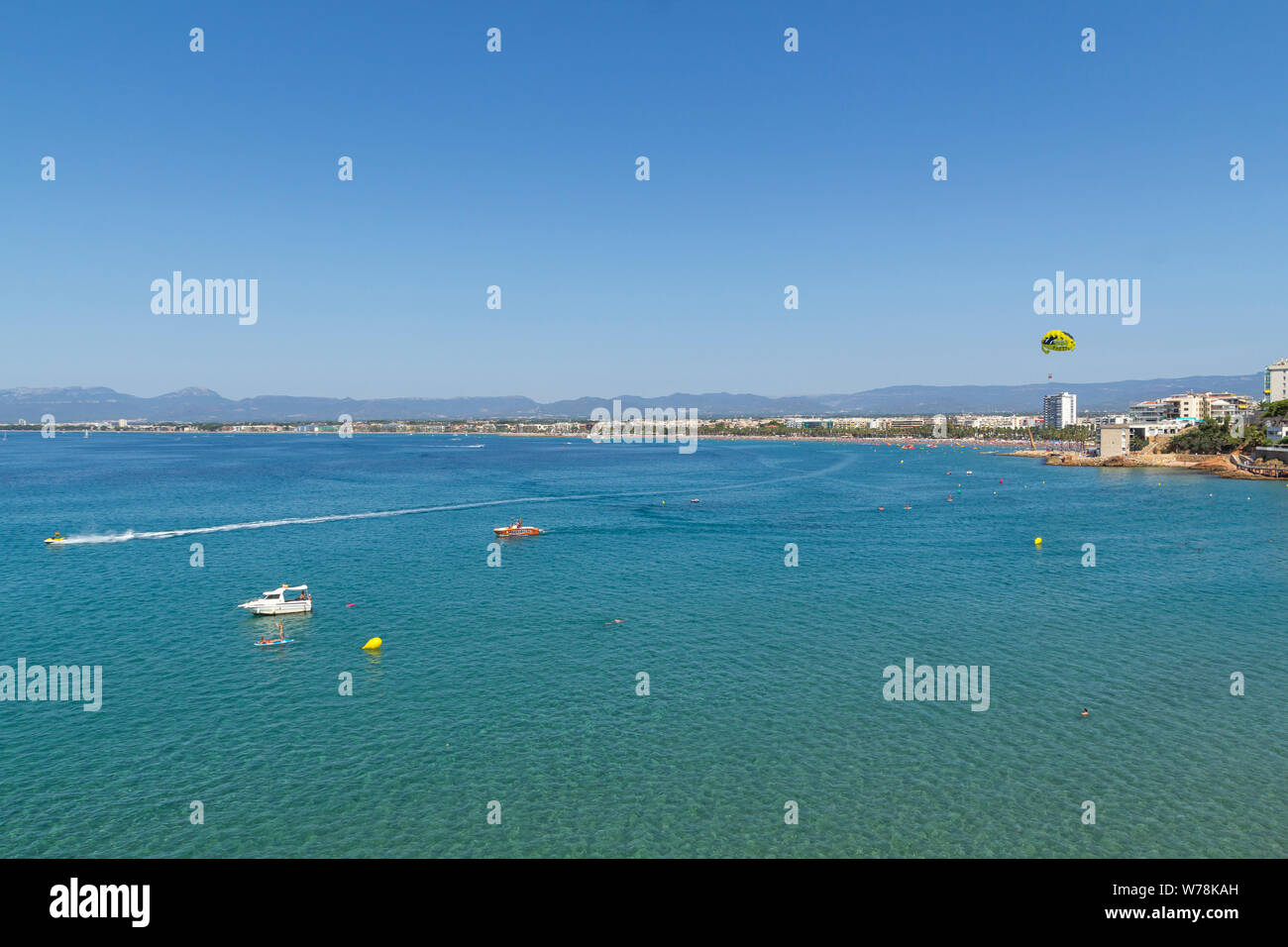 Time lapse in the sea of Salou, Spain. Busy coastline and beach at summer Stock Photo