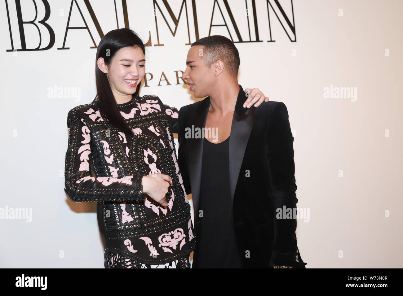 French Fashion Designer Olivier Rousteing Right The Creative Director Of Balmain And Chinese Model Xi Mengyao Better Known As Ming Xi Attend The Stock Photo Alamy