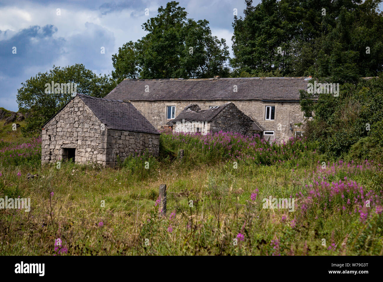 Abandoned Derelict Stone Building Cottage/House  and Outbuildings on the High Peak Trail  near Harboro Rocks,Brassington ,Peak District.Derbyshire.UK Stock Photo