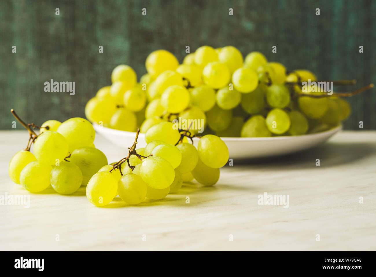 Tasty Green Grapes White Grape On Kitchen Table Stock Photo Alamy