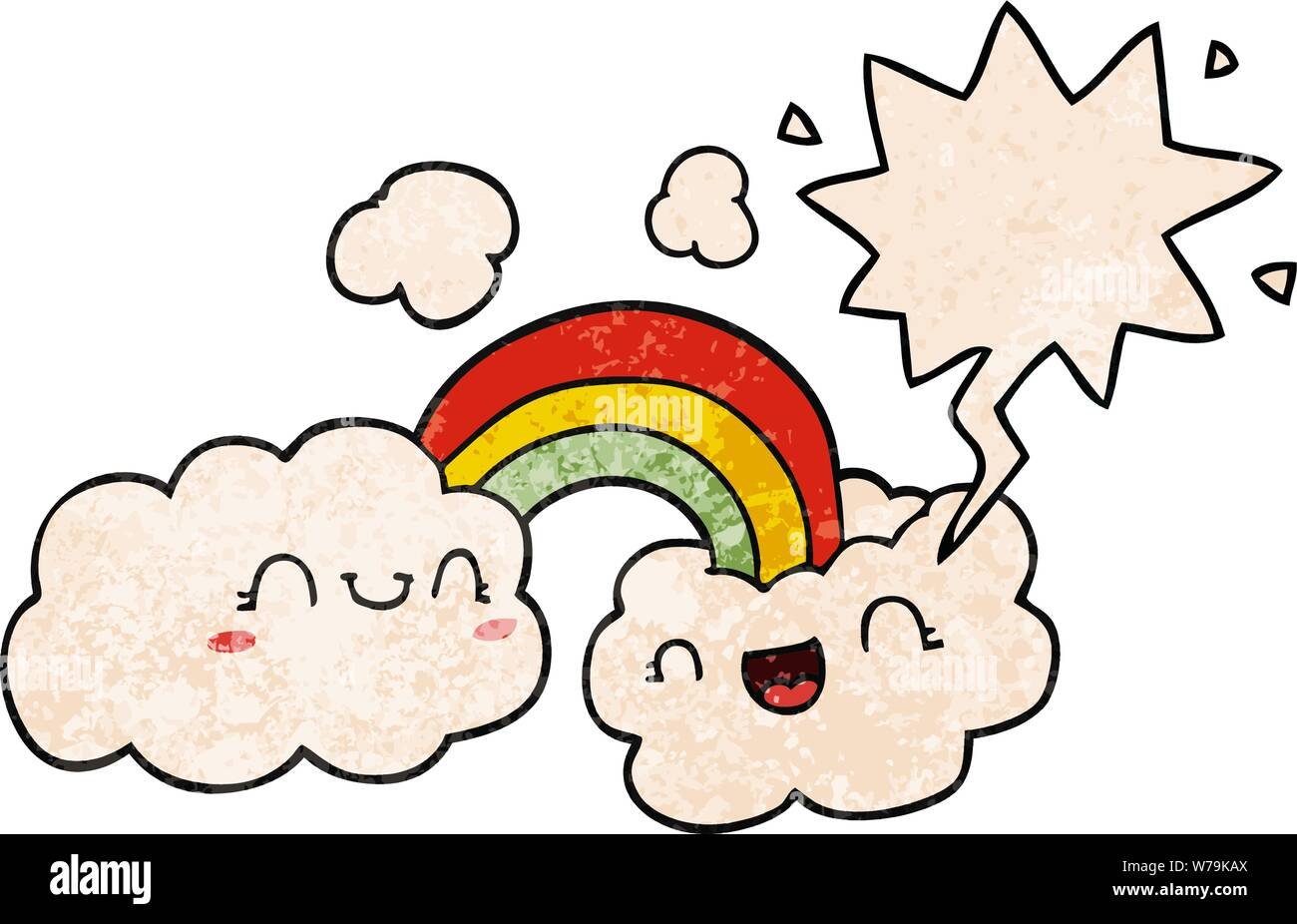 happy cartoon clouds and rainbow with speech bubble in retro