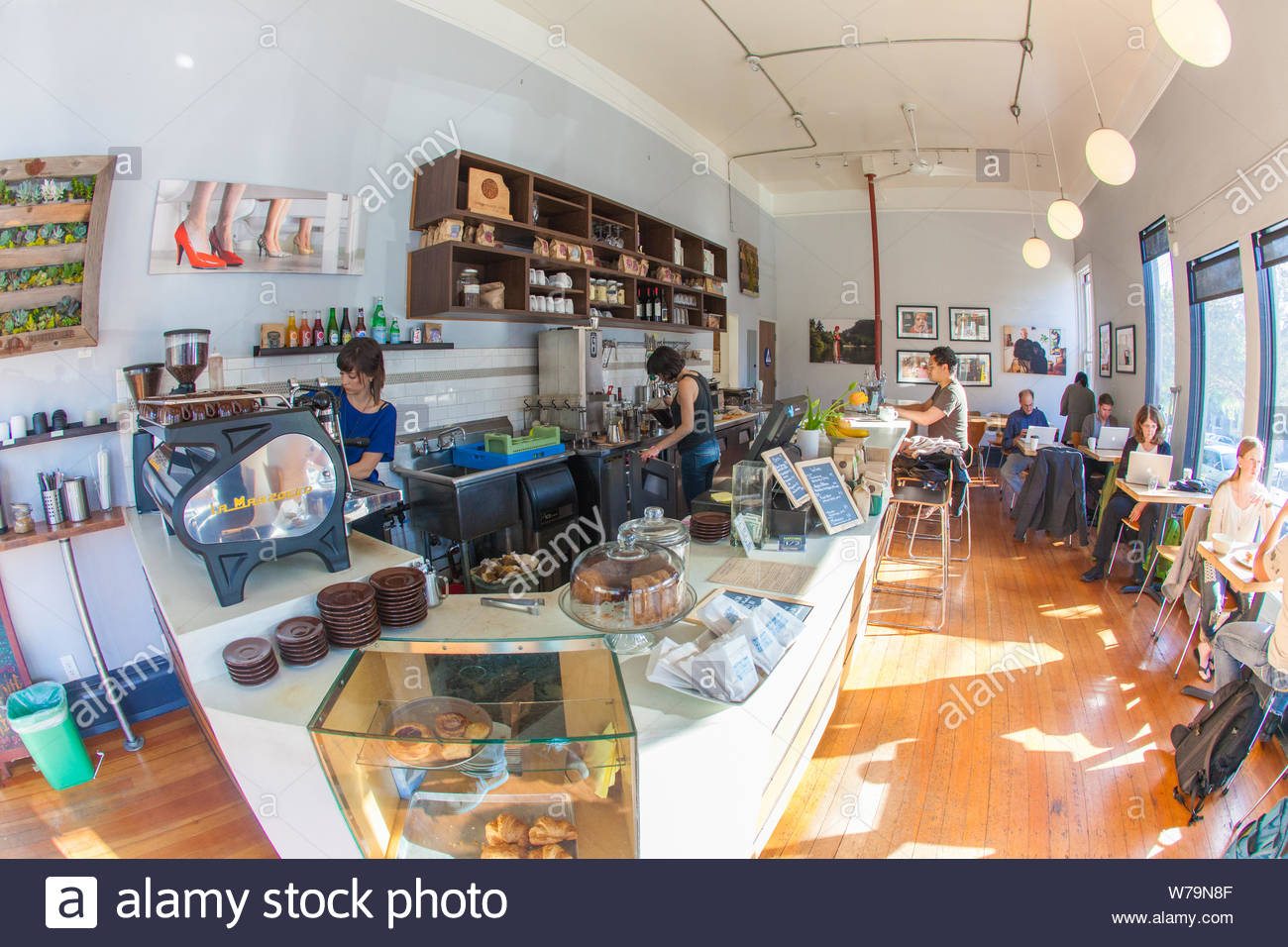 San Francisco, United States - February 27 2013: Coffee and certainly slow drip is cool and hip again. A hipster coffee bar. Stock Photo