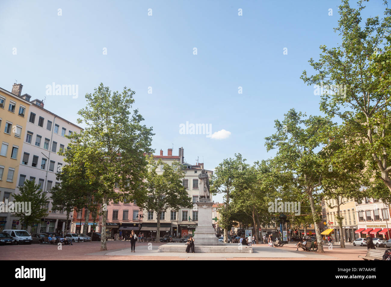 LYON, FRANCE - JULY 17, 2019: Jacquard statue on place de la Croix Rousse Square, one of the main landmark of the city center of Lyon, in Croix Rousse Stock Photo