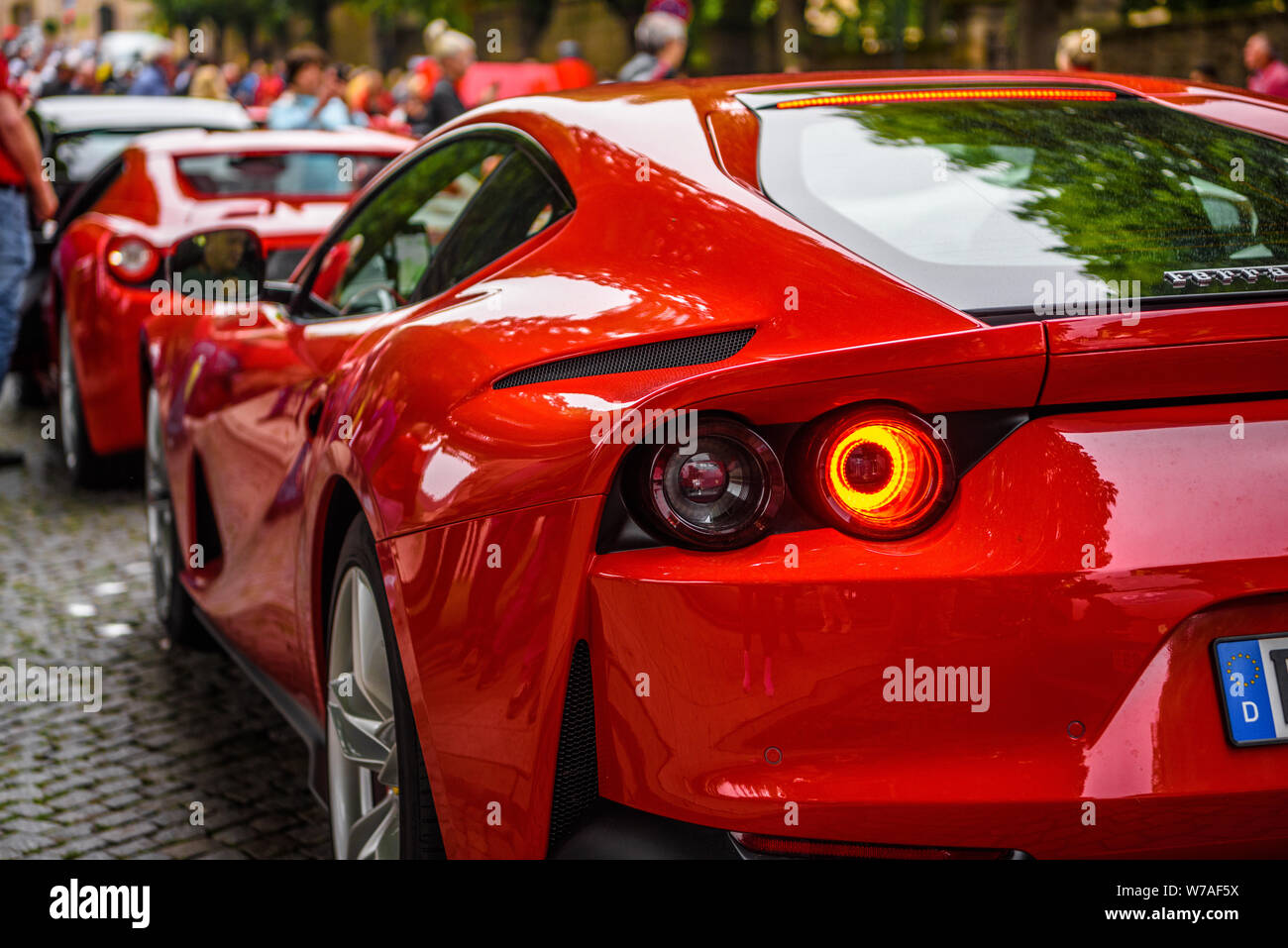 Germany Fulda Jul 2019 Red Ferrari 812 Superfast Type F152m Is A Front Mid Engine Rear Wheel Drive Grand Tourer Produced By Italian Sports Car Ma Stock Photo Alamy