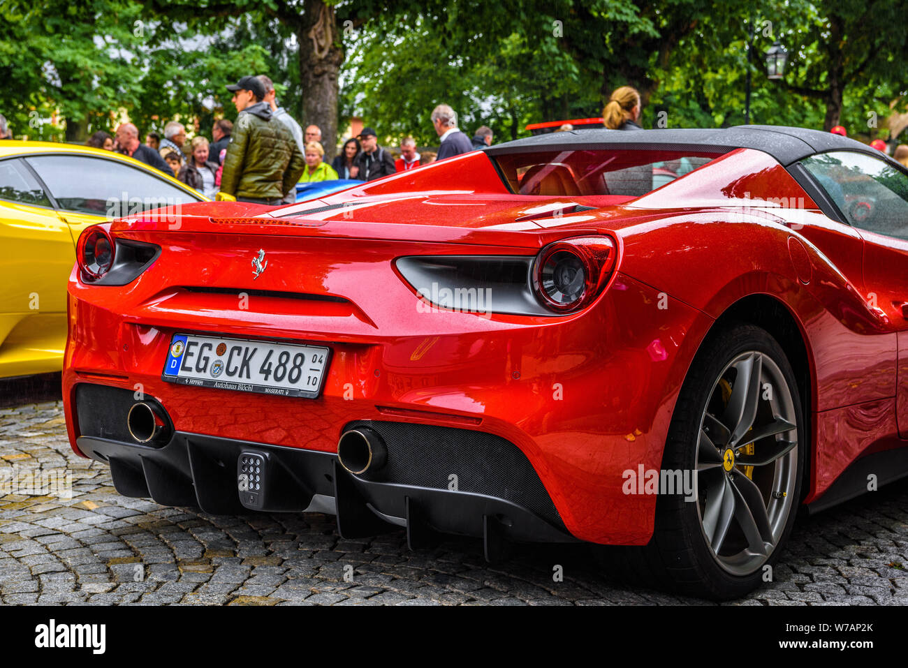 Germany Fulda Jul 2019 Rearview Lights Of Red Ferrari 488 Spider Type F142m Coupe Is A Mid Engine Sports Car Produced By The Italian Automobile Ma Stock Photo Alamy