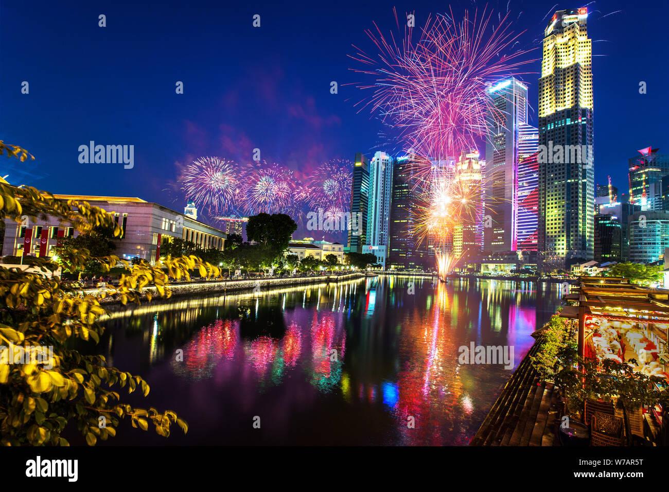 Singapore National Day Parade Fireworks Stock Photos