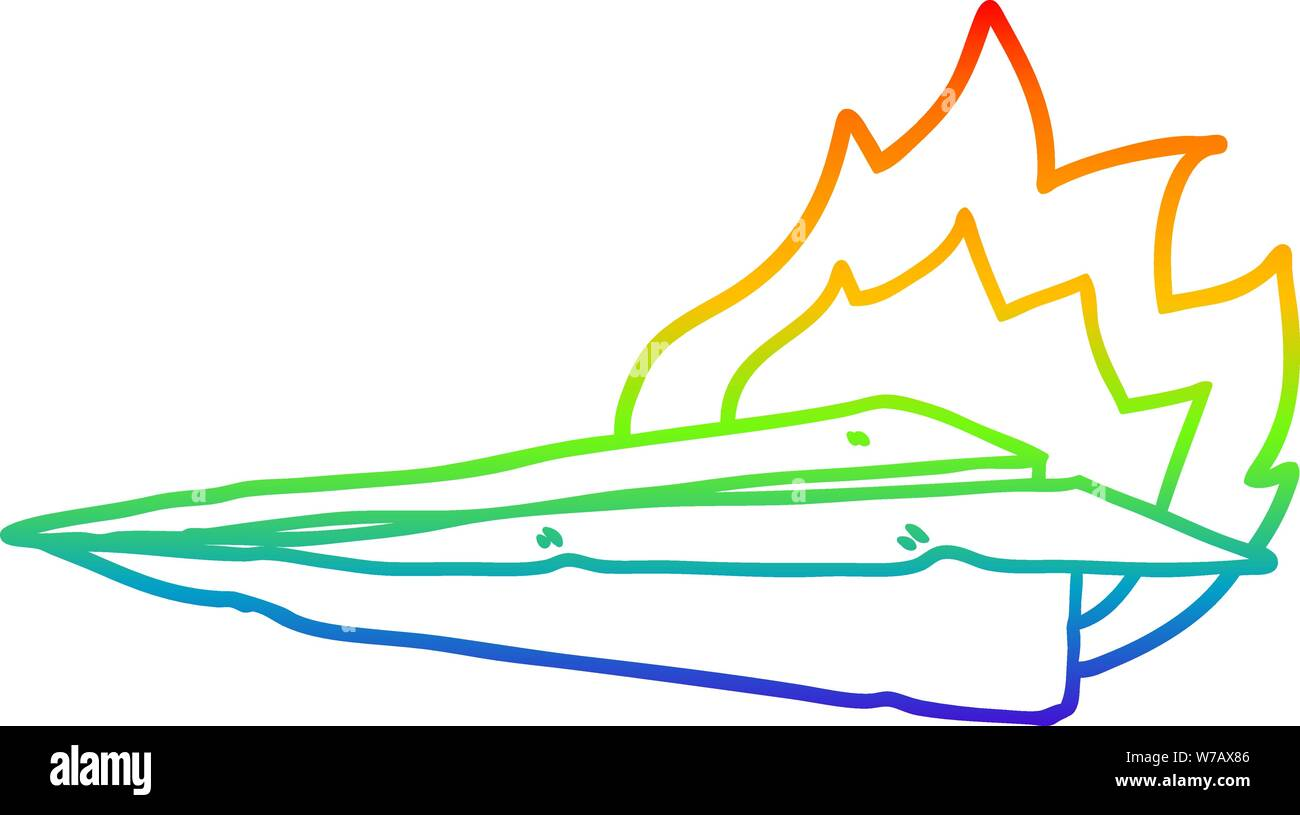 Rainbow Gradient Line Drawing Of A Cartoon Burning Paper Airplane